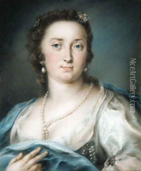 Portrait of a lady, bust-length, in a silver dress with a blue shawl Oil Painting - Rosalba Carriera