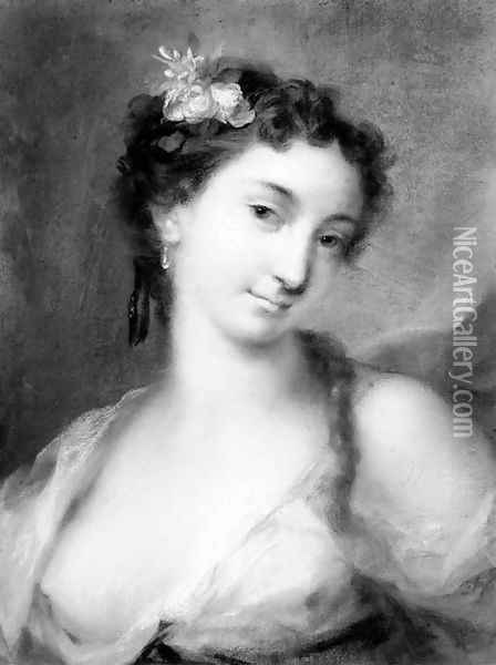 Portrait of a girl, bust-length, in a decolle dress Oil Painting - Rosalba Carriera