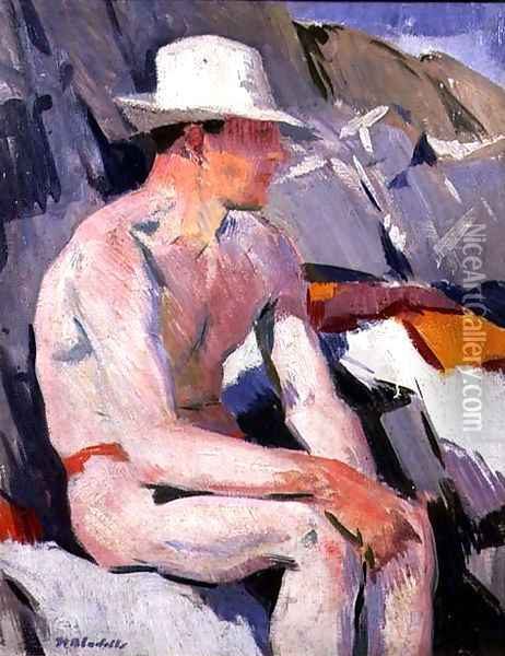 Bather in a White Hat Oil Painting - Francis Campbell Boileau Cadell