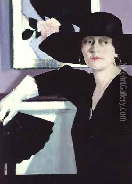 Portrait of a Lady in Black, c.1921 Oil Painting - Francis Campbell Boileau Cadell