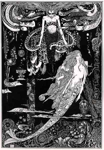 'I know what you want' said the sea witch, illustration for 'The Little Mermaid' from Fairy Tales c, 1910 Oil Painting - Harry Clarke