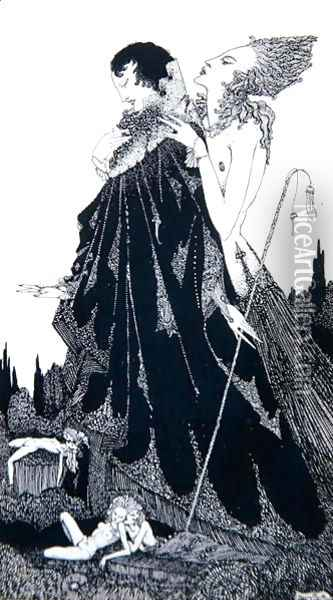 Illustration from 'Selected Poems of Algernon Charles Swinburne Clarke' , 1928 Oil Painting - Harry Clarke