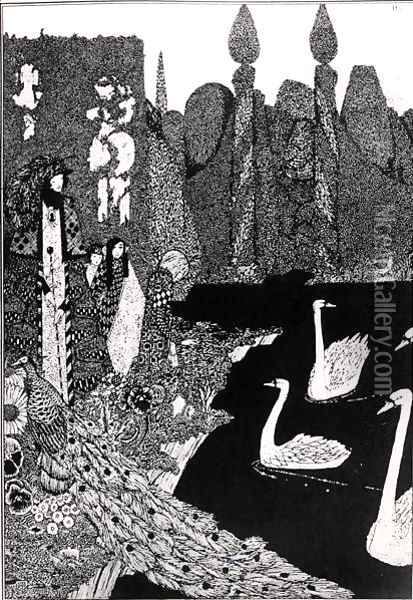 The New One is the Most Beautiful of All, illustration for 'The Ugly Duckling' from Fairy Tales Oil Painting - Harry Clarke