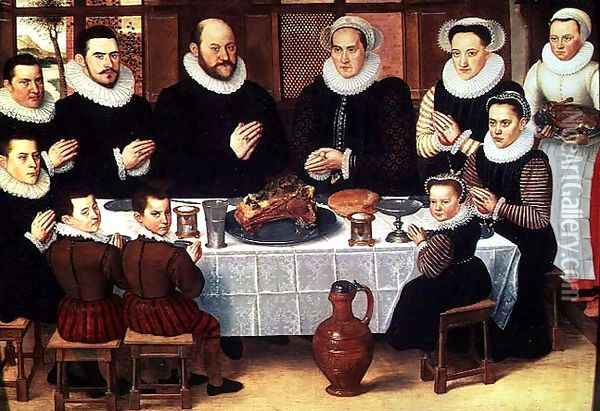 A Family Saying Grace Before the Meal, 1585 Oil Painting - Antoon Claeissens