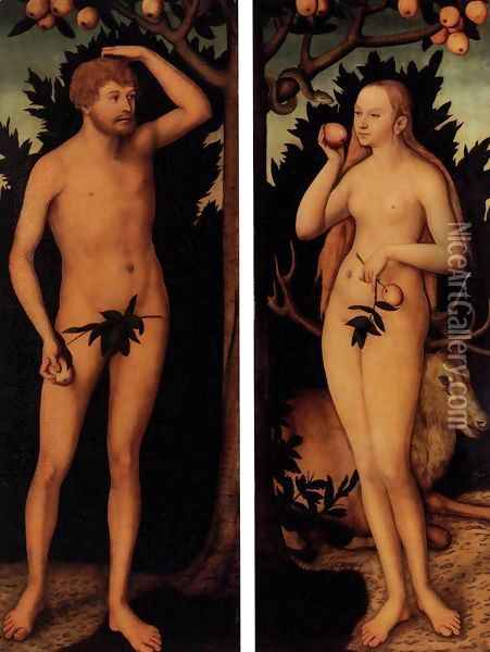 Adam and Eve after 1537 Oil Painting - Lucas The Younger Cranach