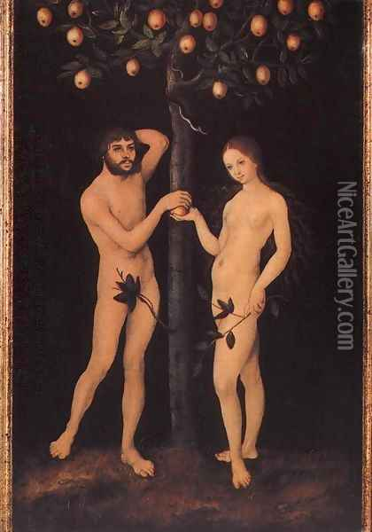 Adam and Eve (1) Oil Painting - Lucas The Elder Cranach