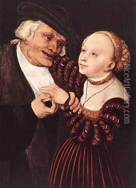 Old Man and Young Woman Oil Painting - Lucas The Elder Cranach