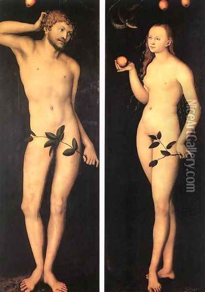 Adam and Eve 1528 Oil Painting - Lucas The Elder Cranach
