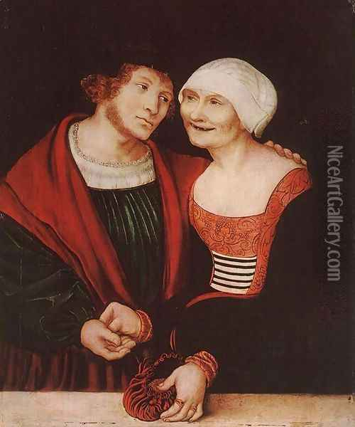 Amorous Old Woman and Young Man 1520-22 Oil Painting - Lucas The Elder Cranach