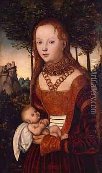 Young mother with child Oil Painting - Lucas The Elder Cranach