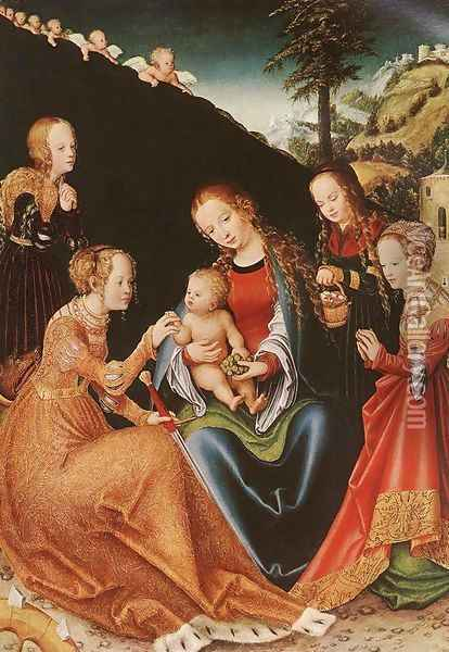 The Mystic Marriage of St Catherine c. 1516 Oil Painting - Lucas The Elder Cranach