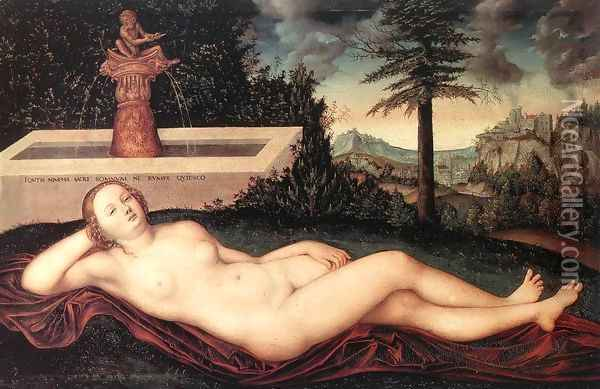 Reclining River Nymph at the Fountain 1518 Oil Painting - Lucas The Elder Cranach