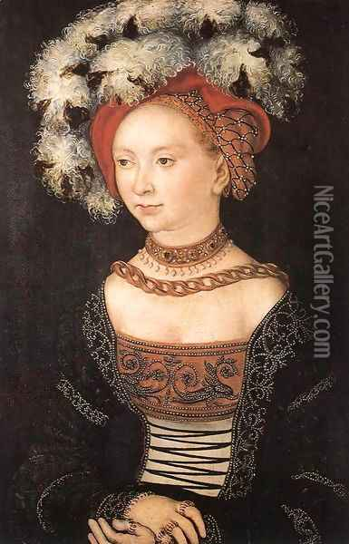 Portrait of a Young Woman c. 1530 Oil Painting - Lucas The Elder Cranach