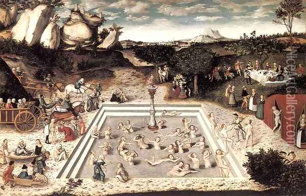 The Fountain of Youth 1546 Oil Painting - Lucas The Elder Cranach