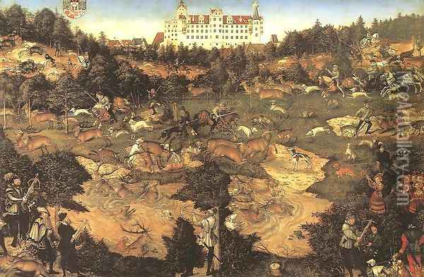 Hunt in Honour of Charles V at the Castle of Torgau (detail) 1544 Oil Painting - Lucas The Elder Cranach