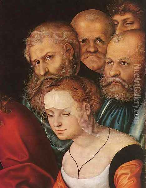 Christ and the Adulteress (detail) 1532 Oil Painting - Lucas The Elder Cranach