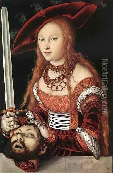 Judith with the Head of Holofernes c. 1530 Oil Painting - Lucas The Elder Cranach