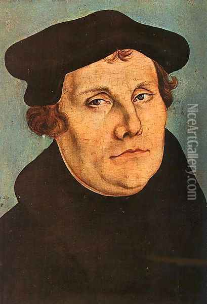 Portrait of Martin Luther Oil Painting - Lucas The Elder Cranach