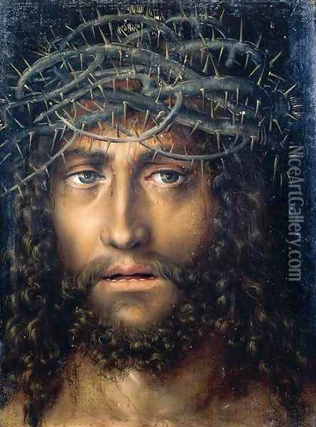 Head of Christ Crowned with Thorns c. 1510 Oil Painting - Lucas The Elder Cranach