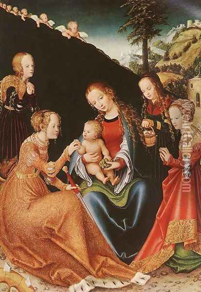 The Mystic Marriage of St Catherine Oil Painting - Lucas The Elder Cranach