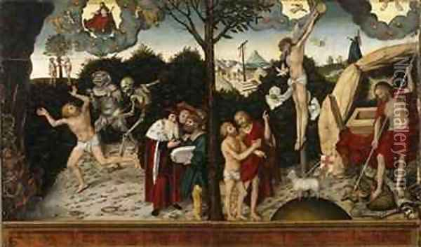 Allegory of the Law and the Gospel Oil Painting - Lucas The Elder Cranach