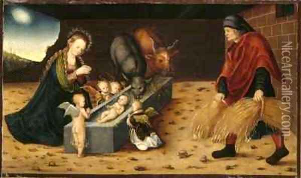 The Nativity with Adoring Child Angels Oil Painting - Lucas The Elder Cranach