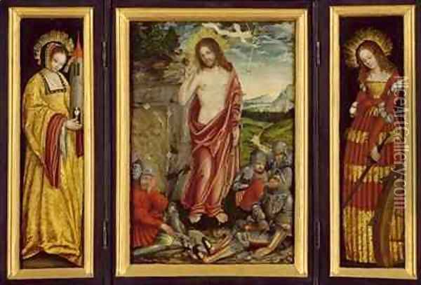 Small winged altar with the Resurrection of Christ St Barbara and St Catharine Oil Painting - Lucas The Elder Cranach