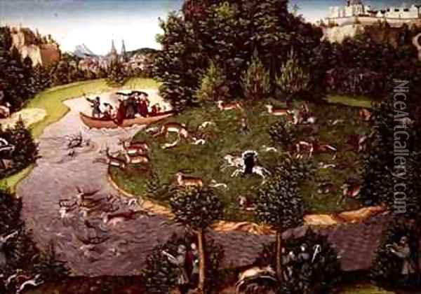 Stag Hunt of Elector Friedrich III the Wise Oil Painting - Lucas The Elder Cranach