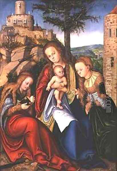 Madonna and Child with St Catherine of Alexandria and St Barbara Oil Painting - Lucas The Elder Cranach
