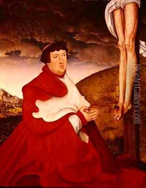 Albert Cardinal Elector of Mainz at the foot of the Cross 2 Oil Painting - Lucas The Elder Cranach