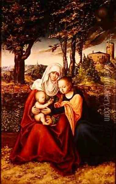 The Virgin Mary with Saint Anne holding the infant Jesus Oil Painting - Lucas The Elder Cranach