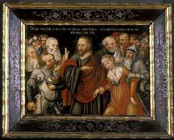 Christ and the Adultress Oil Painting - Lucas The Elder Cranach