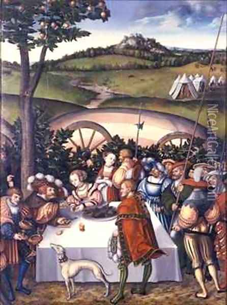 Judith at the Table of Holofernes Oil Painting - Lucas The Elder Cranach