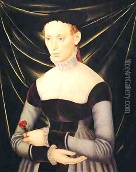 Woman with a Carnation Oil Painting - Lucas The Elder Cranach
