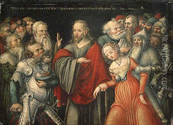 Christ and the Adulteress mid 1540s Oil Painting - Lucas The Elder Cranach