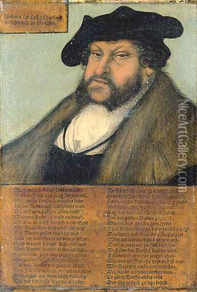 Portrait of John the Steadfast, Elector of Saxony (1468-1532), bust-length, in a white shirt, fur-lined coat, and black hat Oil Painting - Lucas The Elder Cranach