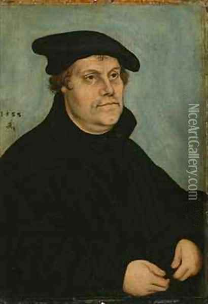 Portrait of Martin Luther at the age of 50 Oil Painting - Lucas The Elder Cranach