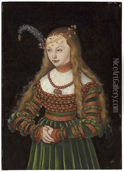 Portrait of Princess Sybille of Cleves, Wife of Johann Friedrich the Magnanimous of Saxony Oil Painting - Lucas The Elder Cranach