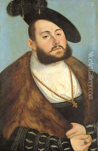 Portrait of the Elector John Frederick the Magnanimous of Saxony (1503-1554), half-length Oil Painting - Lucas The Elder Cranach