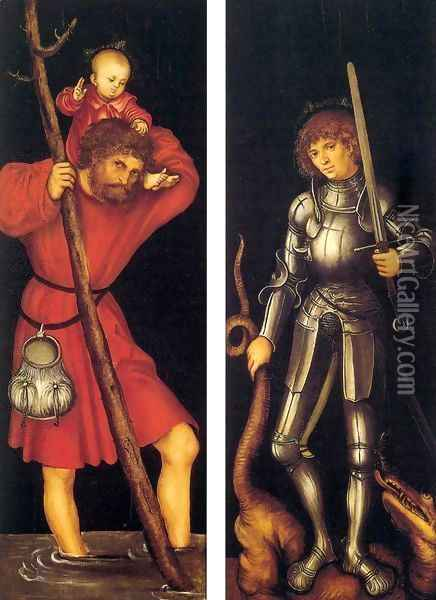 Sts Christopher and George (outer side) Oil Painting - Lucas The Elder Cranach