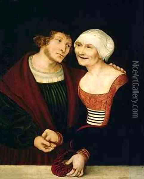 The Infatuated Old Woman Oil Painting - Lucas The Elder Cranach
