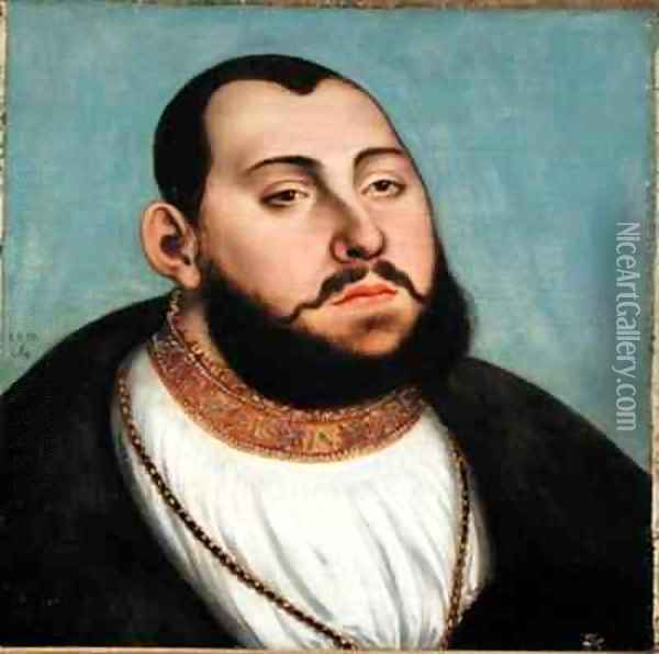 Portrait of John Frederic the Magnanimous 1503-54 Elector of Saxony Oil Painting - Lucas The Elder Cranach