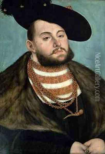 Portrait of John Frederick the Magnanimous Elector of Ernestine of Saxony Oil Painting - Lucas The Elder Cranach