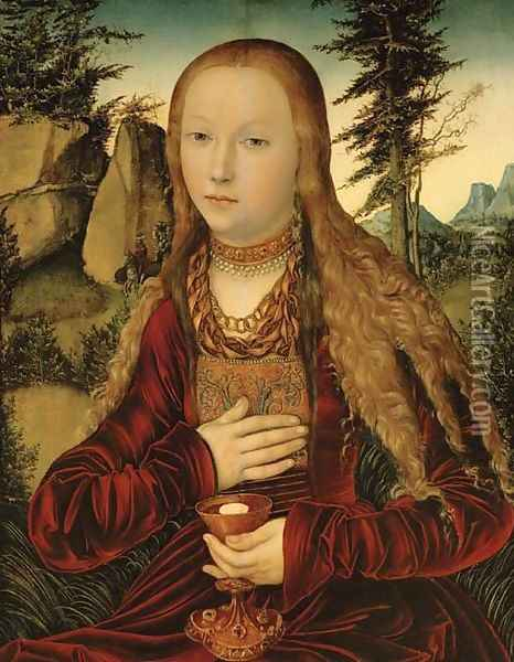St. Barbara in a wooded landscape Oil Painting - Lucas The Elder Cranach