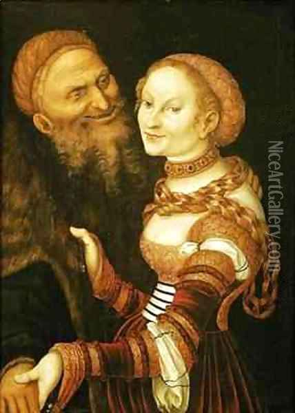 The Courtesan and the Old Man Oil Painting - Lucas The Elder Cranach