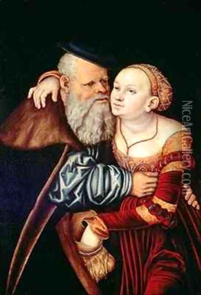 The Old Lover Oil Painting - Lucas The Elder Cranach