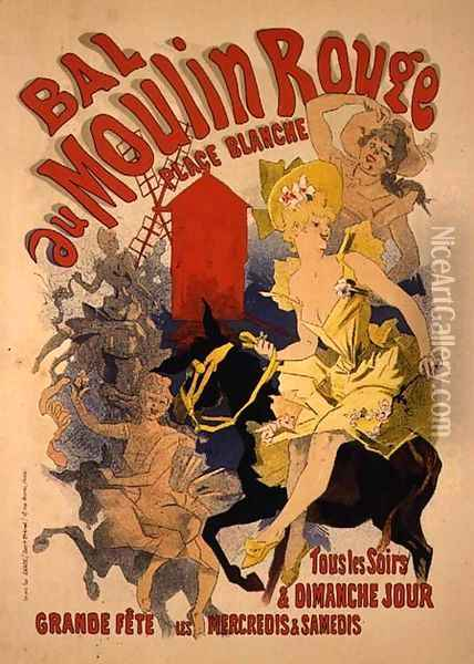 Reproduction of a Poster Advertising the 'Bal au Moulin Rouge', 1889 Oil Painting - Jules Cheret
