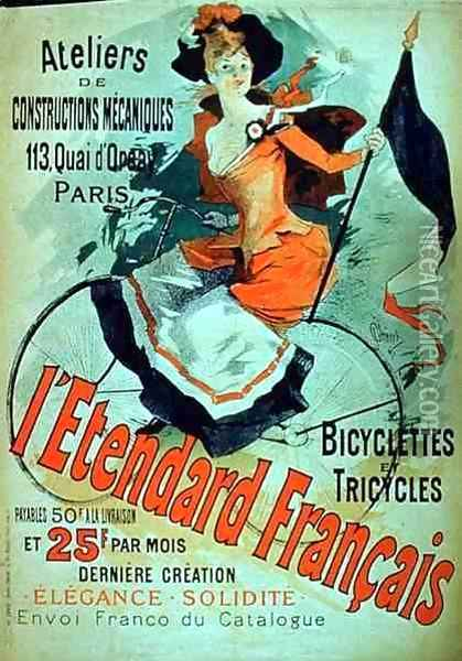 'The French Standard', poster advertising the 'Atelier de Constructions Mecaniques, Bicycles and Tricycles, Paris, 1891 Oil Painting - Jules Cheret