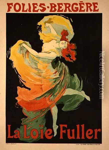 Reproduction of a Poster Advertising 'Loie Fuller' at the Folies-Bergere, 1893 Oil Painting - Jules Cheret
