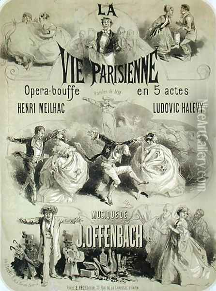 Poster advertising 'La Vie Parisienne', an operetta by Jacques Offenbach (1819-90) 1886 Oil Painting - Jules Cheret